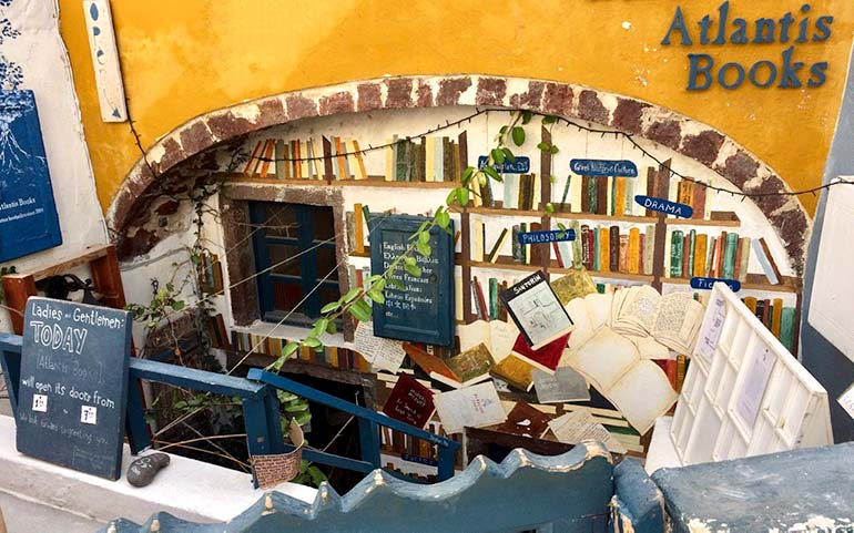 Atlantis Bookstore in Oia Santorini