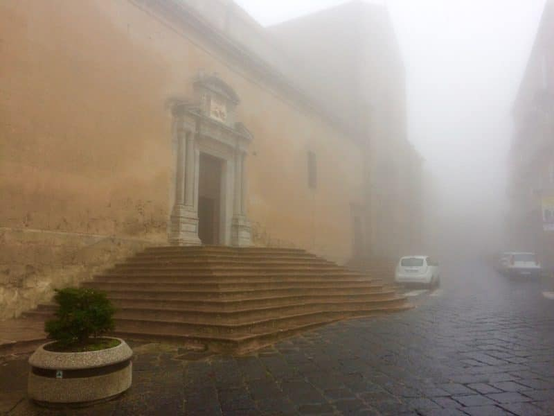 Cathedral with fog
