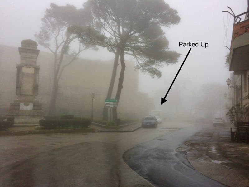 Stopover on our campervan Sicily trip -Foggy parking on a street