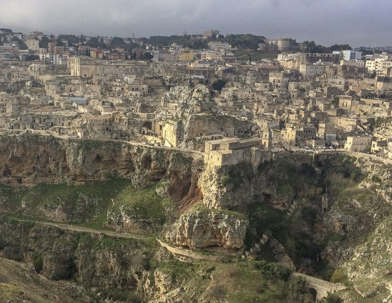 Matera perched on the top of the steep ravine