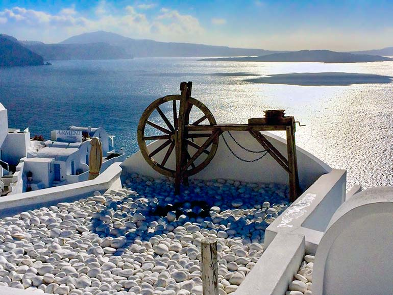 Santorini views in winter