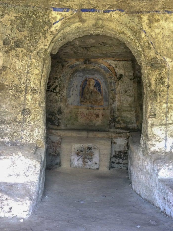 Matera Italy rock church and its peeling frescoes