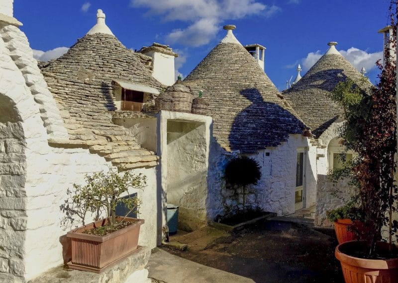 The tiny trulli houses in the Aio Piccola district of Alberobello