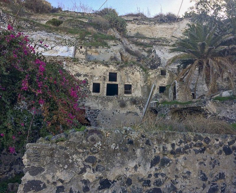 Vothonos old school built into a hill in Santorini