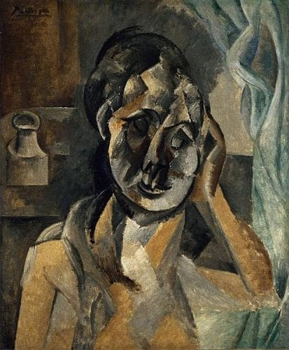 Picasso painting depicting a women with a coffee