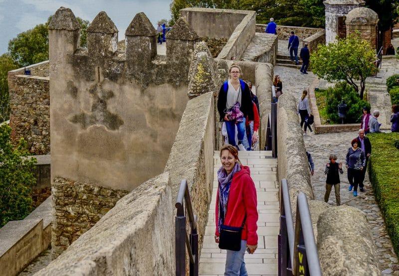 Walking the castle walls of Castillo de Gibralfaro