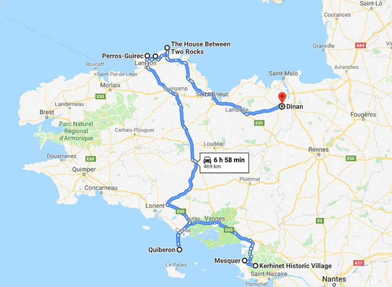 Brittany Road Trip Route Map