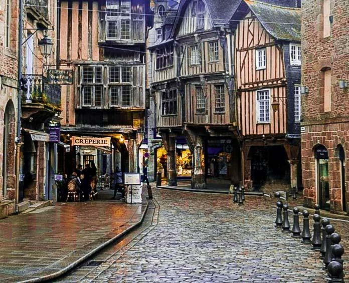 Street scene of Dinan in Brittany