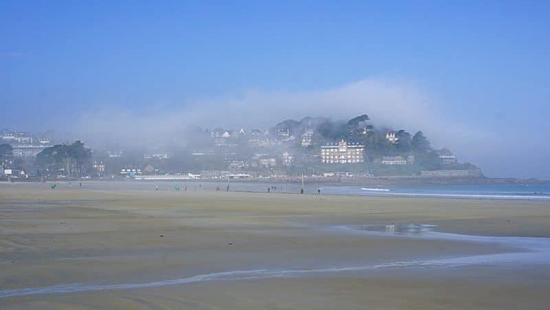 Perros-Guirec , Brittany enveloped in morning fog