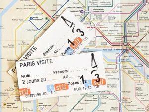 2 Paris 48 hour train tickets overlaid on the public transport map of Paris