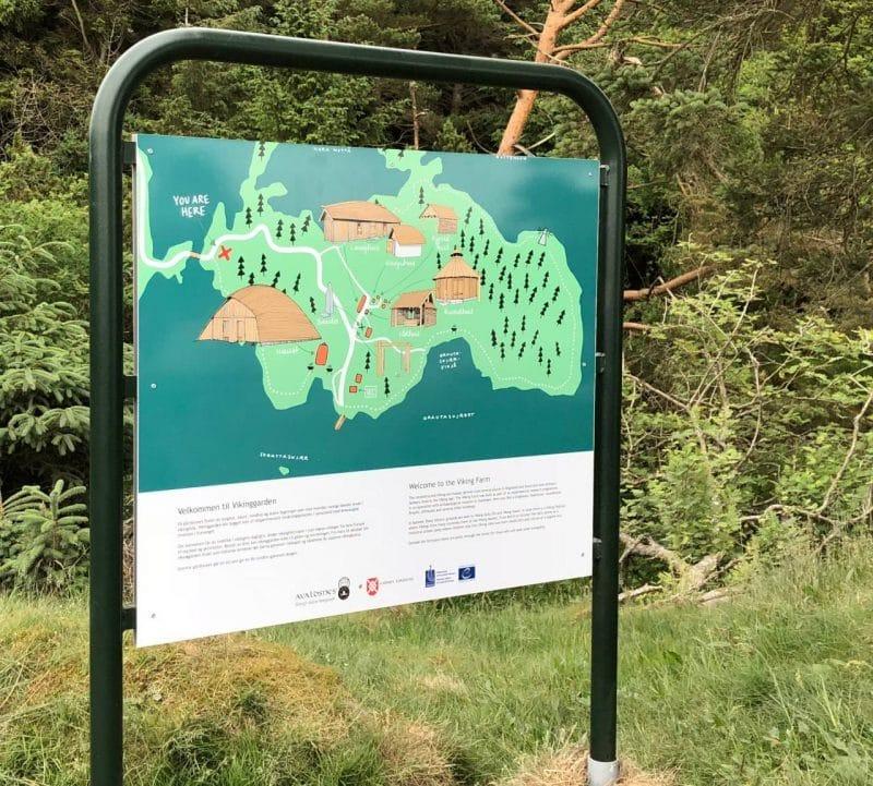 Avaldsnes Viking Farm map on a sign