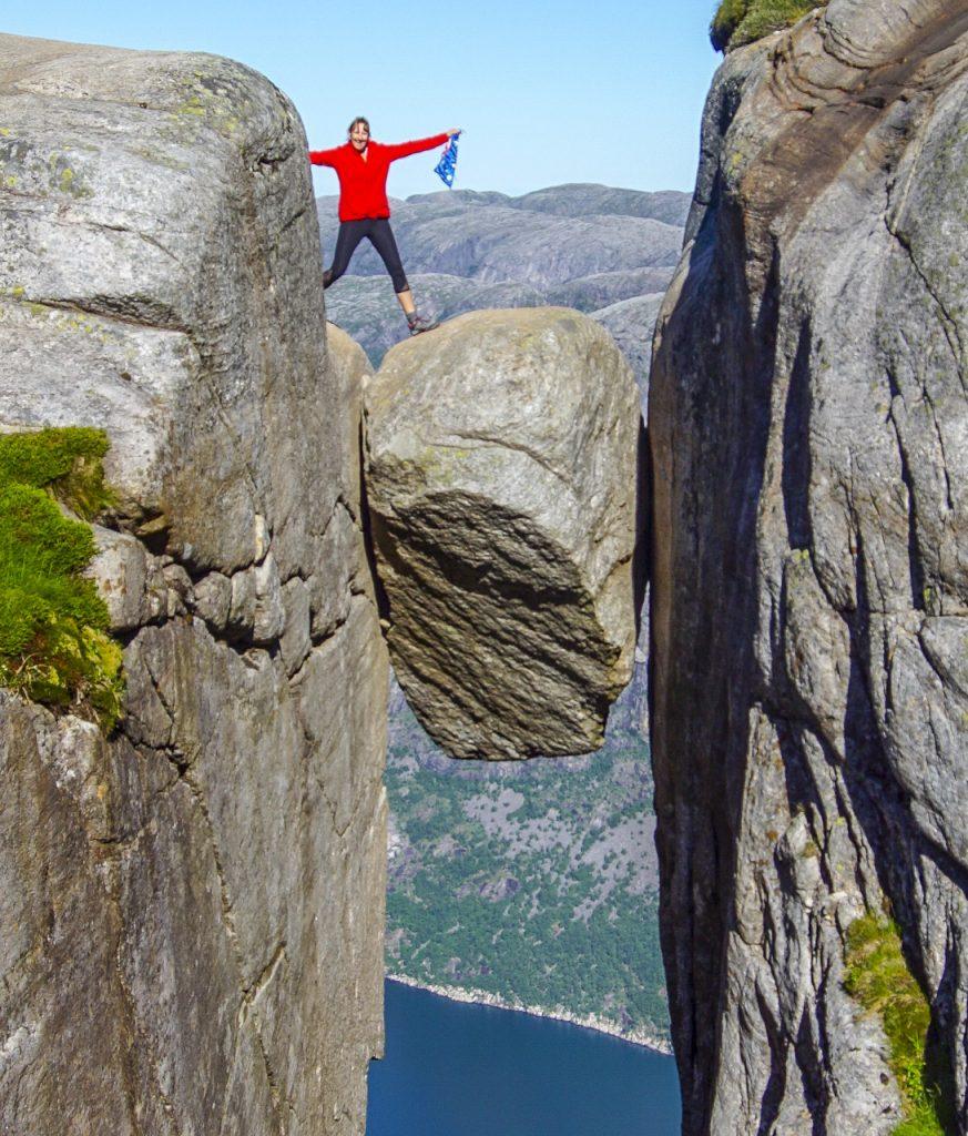 woman stood on Kjergabolten rock