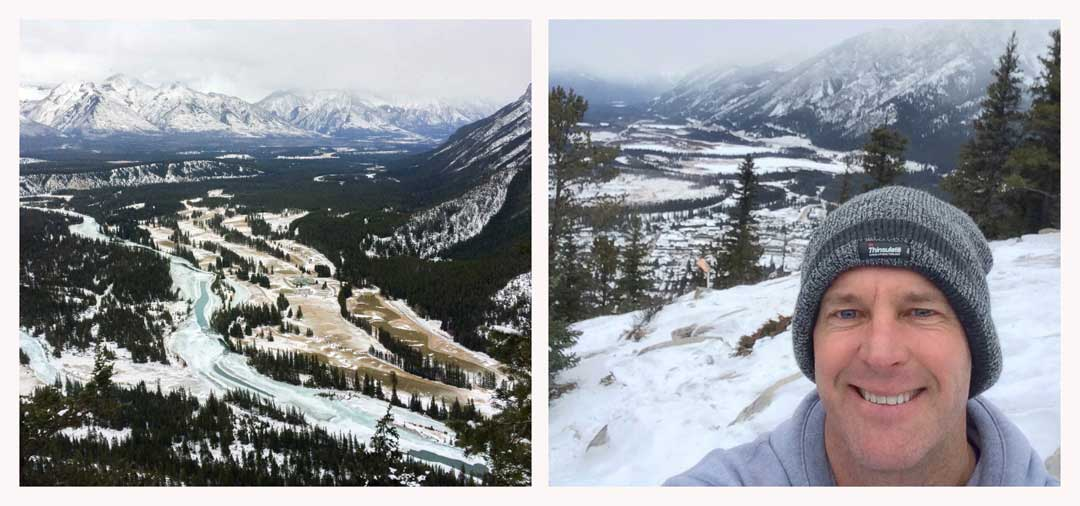 Two photos one on the left of the view from the top o Tunnel Mountain - pinetrees, swirly river and snow. On the right the same view bot with Lars face in the shot too