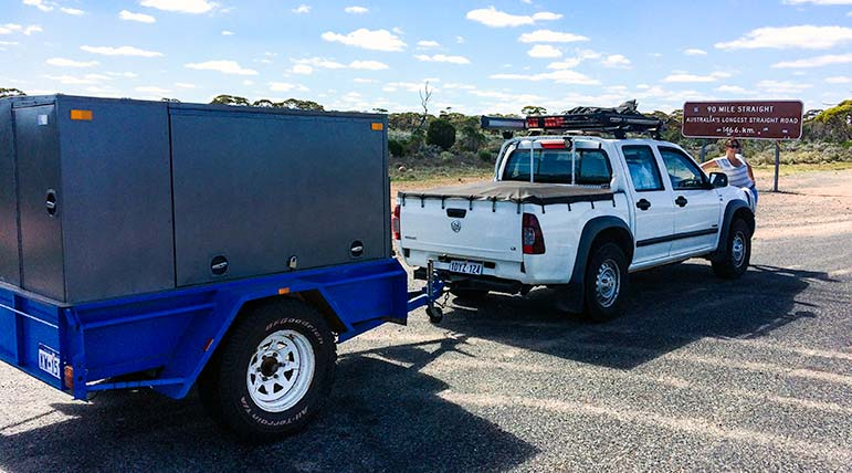 Ute and trailer on the Nullarbor, during our drive from Perth to Melbourne