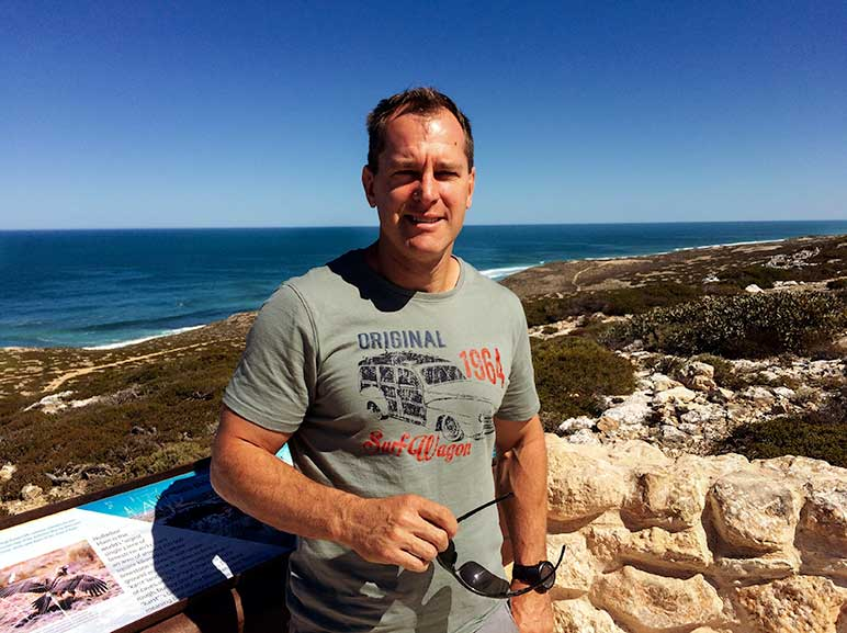 Lars at Bunda cliffs on the Nullarbor Plain - on the Perth to Melbourne Drive