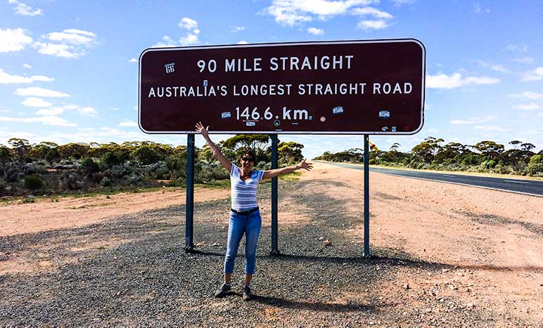 90 mile straight sign on the Nullarbor stretch of road on the drive from Perth to Melbourne