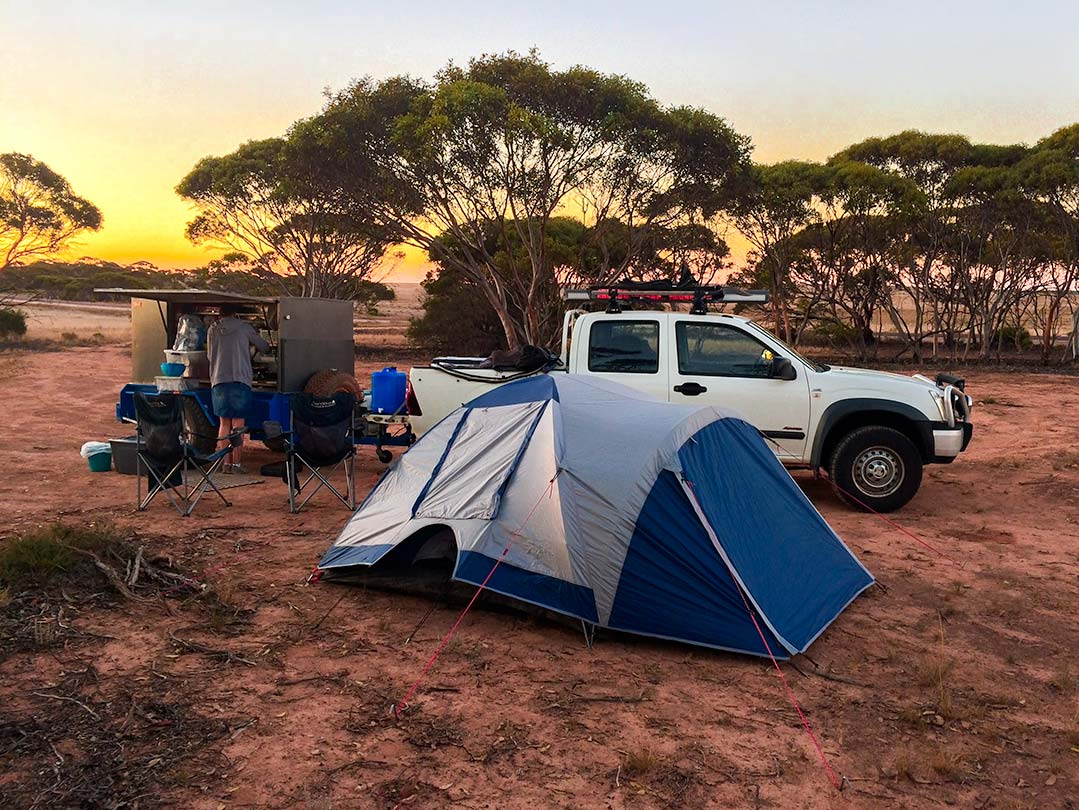 Camp along the side of the road on the Perth to Melbourne route
