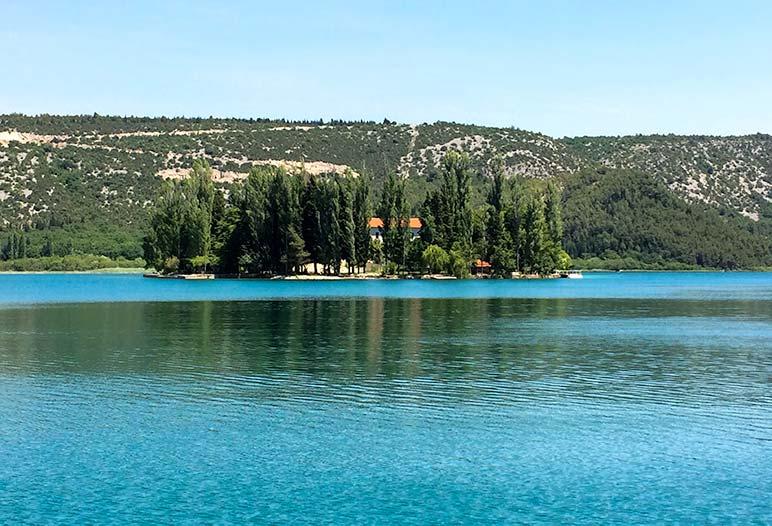 Visovac Lake Island with monastery in the middle, Croatia