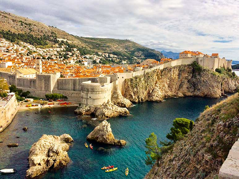 Dubrovnik, Croatia view of the old wall fortress