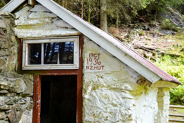 Close up on 1936 date on wall of New Zealand Hut in Skudeneshavn Forest