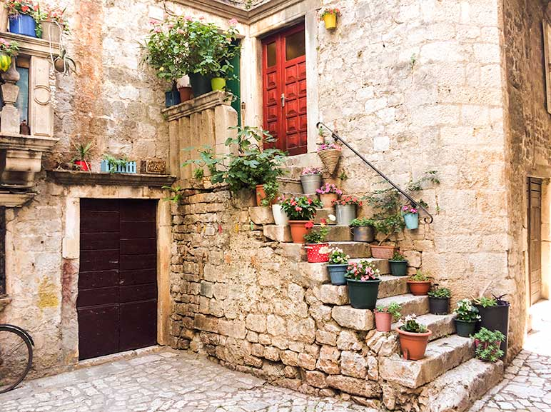 Doorway with steps lined with pot plans in Trogir, Split