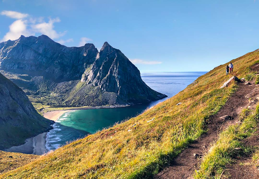 Hiking Norway: Ryten Hike view over Kvalvika Beach