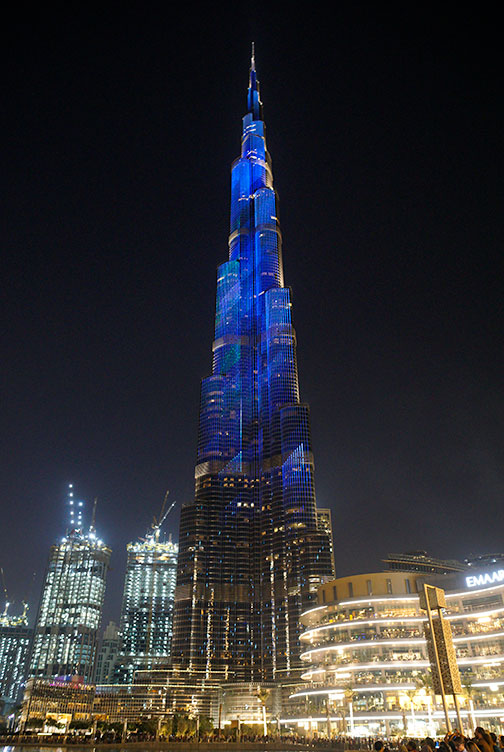 The different faces of Burj Khalifa, the world's tallest building.