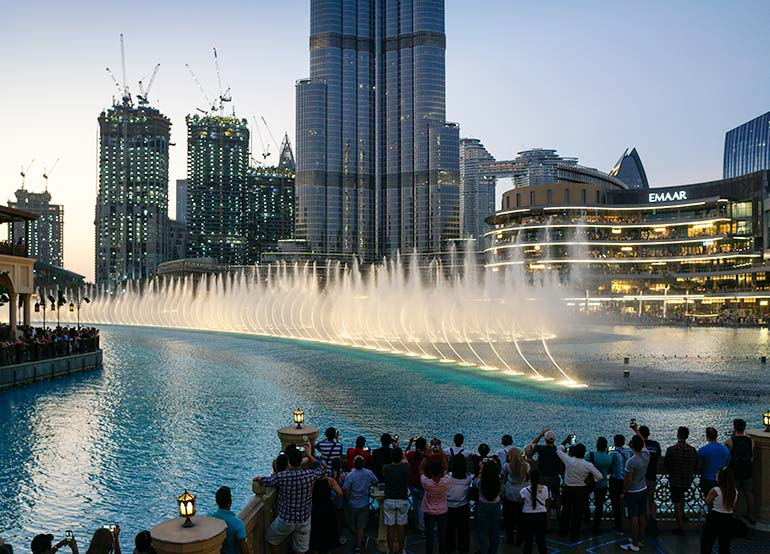 The Dubai Fountain in full swing close to sunset