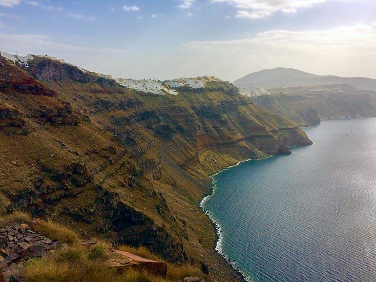 view of Oia from  Skaros Rock santorini