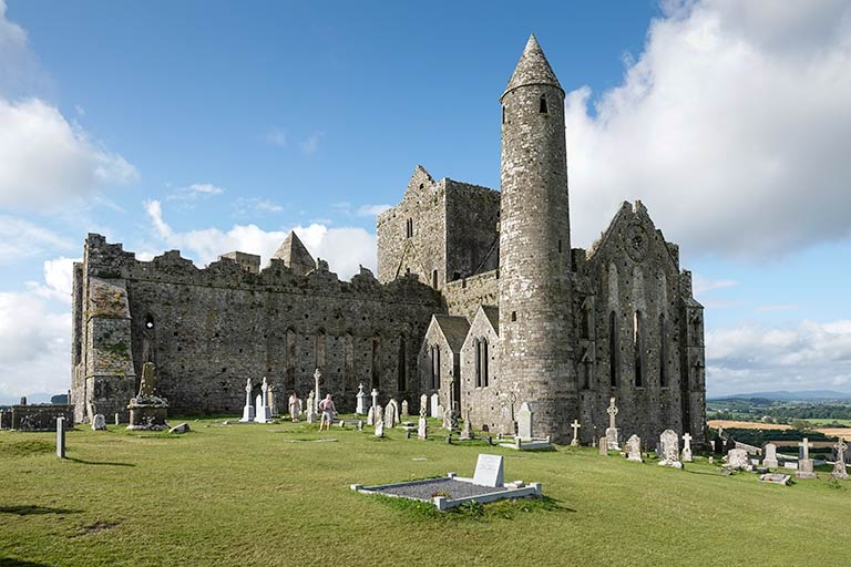 First stop on our 7 day ireland Itinerary -Closer view of the ruined castle - Rock of Cashel