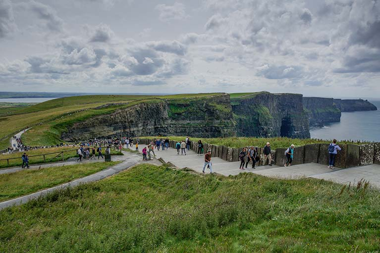 Coastal walk overlooking cliffs are concreted in the busiest sections