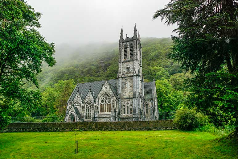 A Gothic church in green lush country on our 7 day Ireland Itinerary