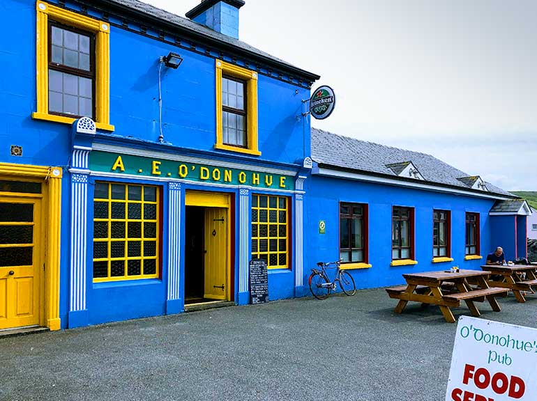 Dazzling blue and yellow colours of an Irish pub