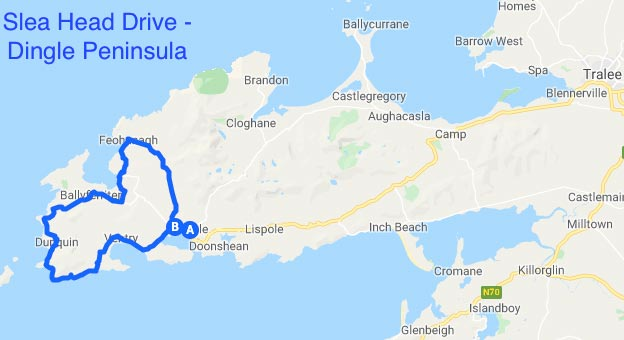 Driving map of Slea Head Drive