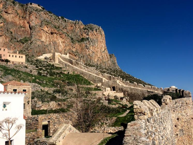 The old fortress walls of Monemvasia