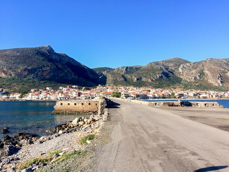 View of Monemvasia new town from the old town