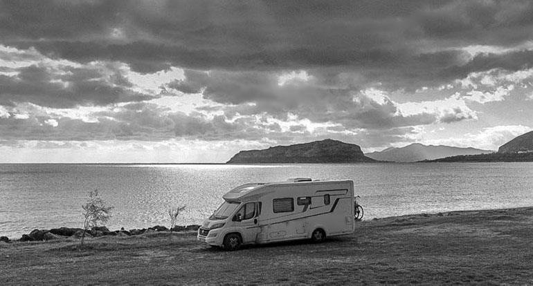 Monemvasia Island in the Background with motorhome