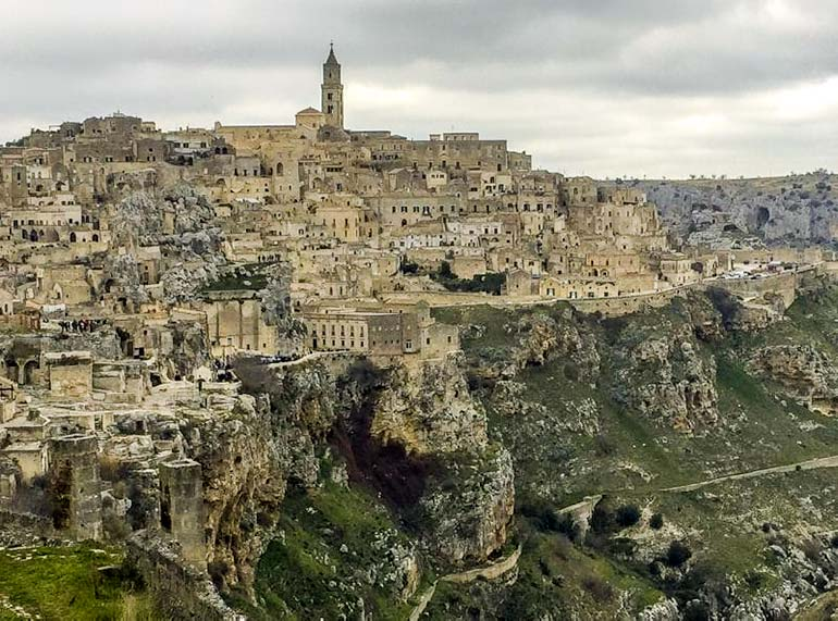 View of Matera from the other side of the Ravine