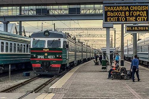 Tashkent old Russian passenger train waiting at the platform