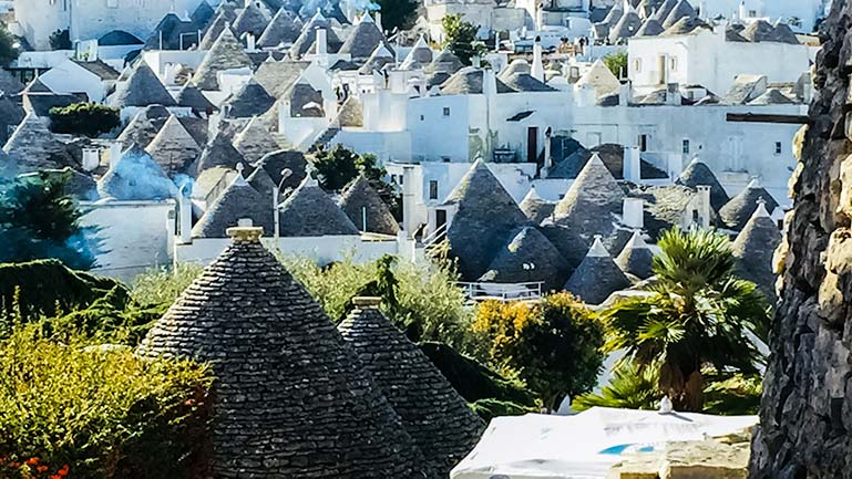 View across the Aberobello Trulli roofs