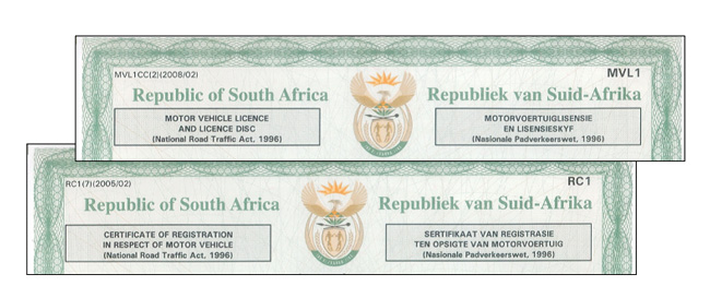 South African car rego papers