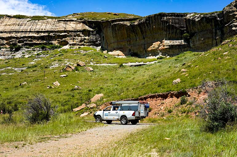 Driving in Golden Gate National Park, South Africa
