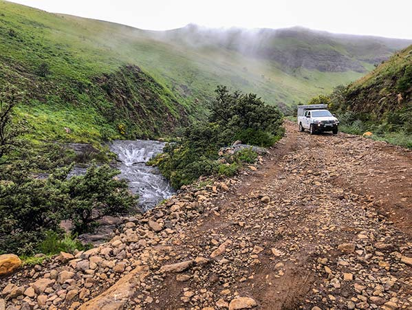 Rocky road of Sani Pass road