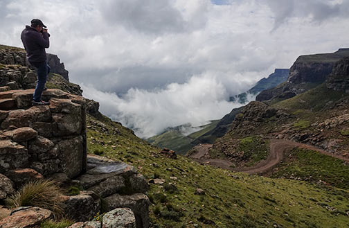 Sani Pass with fog billowing up the pass