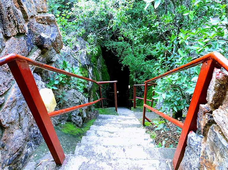 Wonder caves entrance with steep steps to the cave below at the Rhino and Lion Park johannesburg