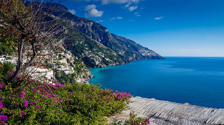 Amalfi coast view with Positano in background