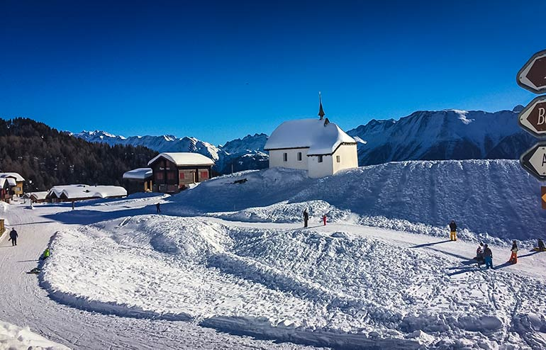 Bettmeralp Skiing - church at Bettmeralp in the snow