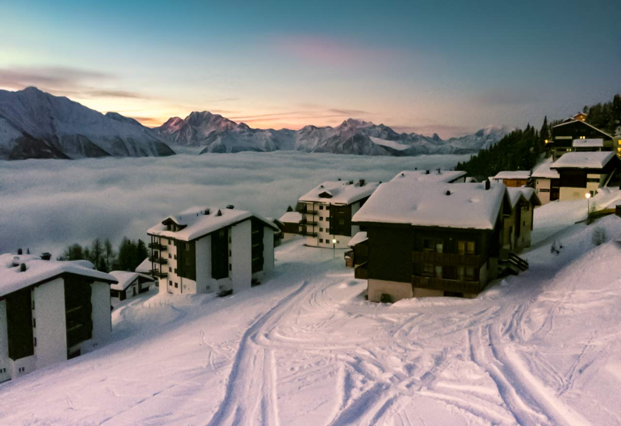 sunrise over the snow at Bettmeralp