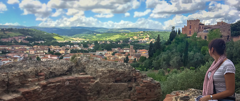 View from the hilltop town of Certaldo Italy