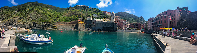 View of old town Vernazza across the water - one of the old towns of Cinque Terre